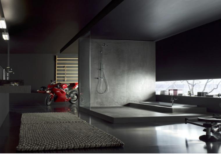 Nobili. Likid. Industrialny salon kąpielowy. Mikrocement w kabinie prysznicowej.