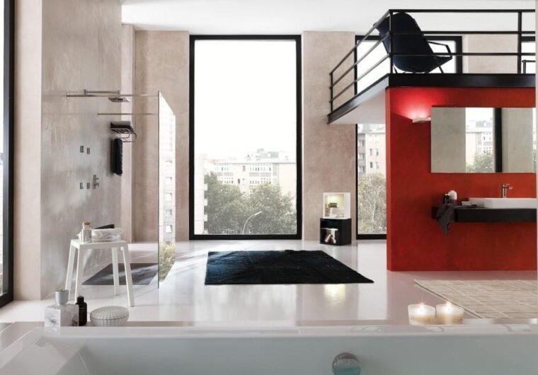 Nobili. Loop. Nowoczesny salon kąpielowy. Mikrocement w kabinie prysznicowej.png